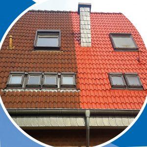 Vor und nach der Behandlung einer Dachbeschichtung.